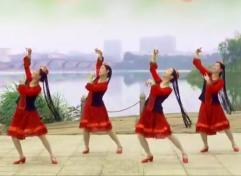 阿中中梅梅翠翠广场舞摘一朵泉水边的石榴花正背面演示分解 新疆舞