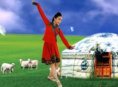艺莞儿广场舞下马酒之歌正面演示 蒙古族舞蹈