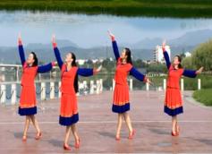王梅广场舞站在草原望北京正面背面演示教学 演唱:乌兰图雅