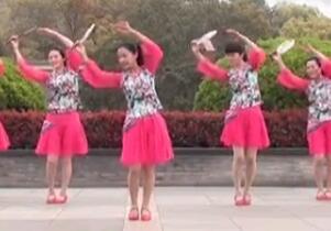 茉莉广场舞《爱的世界只有你》 团扇子舞