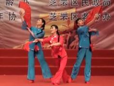 中老年扇子舞《红高粱-九儿》 山东烟台市慈善总会春雷艺术团阳光姐妹舞蹈队表演